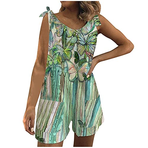 1111 Women Jumpsuits Summer Sleeveless Playsuit Sexy V Neck Short Romper Vintage Fashion Overalls Leopard Flowers Print Pants Casual Breathable Beach Shorts