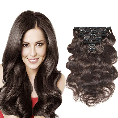 """Urbeauty 20"""" Dark Brown Wavy Clip in Human Hair Extensions 7pcs/100g Seamless Body Wave Remy Clip in Hair Extensions Triple Weft"""