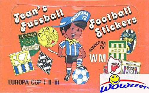 1978 Panini Argentina World Cup Soccer Jeans Fussball Sealed BOX with 100 Factory Sealed Sticker Packs! Rare Find over 40 Years Old! Look for Stickers of Barcelona, Real Madrid, Brazil & More! WOWZZER
