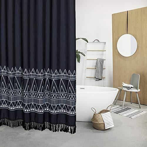 YoKii Tassel Fabric Shower Curtain, Black White Boho Striped Chevron Polyester Bath Curtain Set with Hooks, Decorative Spa Hotel Heavy Weighted 72-Inch Bathroom Curtains, (72 x 72, Black)