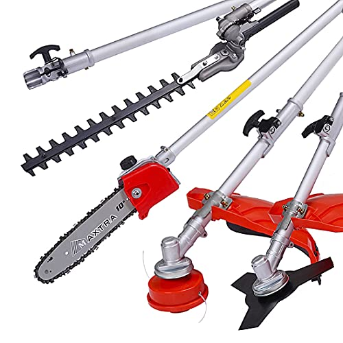 MAXTRA 5-in-1 Gas Pole Saw, 42.7cc 2-Cycle Reach to 16ft Cordless String Trimmer with Weed Wacker/Hedge Trimmer/Brush Cutter Multi Functional Trimming Tools