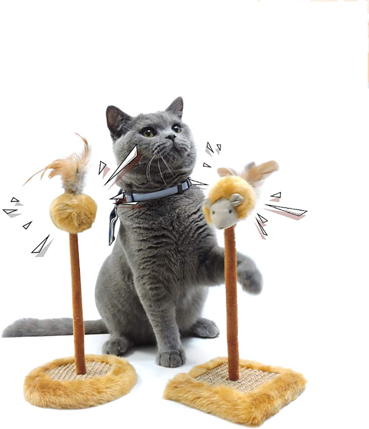 2 PC Interactive Cat Scratcher Toy 2 in 1 Kitten Feather Toys Spring Feather Captive Funny Cat Teaser Hide for Cat's Fun