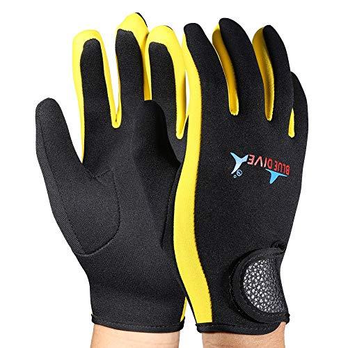 VGEBY 1 Paar Tauchen Handschuhe Neopren Schnorcheln Kajak Surfen Wassersport Handschuhe(Black Yellow S)