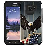 Galaxy S6 Active G890 Hülle, nur für Active Style Nicht passend für Galaxy S6 / S6 Edge, doppellagig, stoßfest, stoßfest, American Bald Eagle Flying with Flag