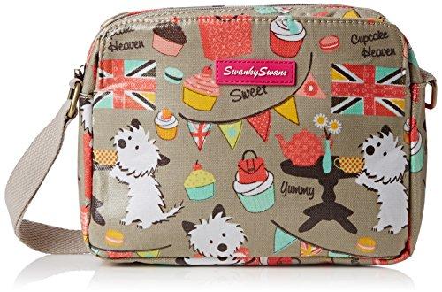 SWANKYSWANS Womens Biba Dog Cupcake 3 Pocket Cross-Body Bag Grey