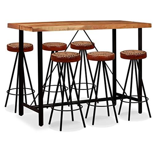 vidaXL Conjunto bar 7 pcs madeira acácia maciça couro genuíno e lona