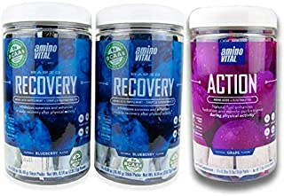 amino VITAL Rapid Recovery (Qty 2) and Action Grape (Qty 1) Bundle - Vegan BCAA Powder | Pre and Post Workout Amino Acid Drink