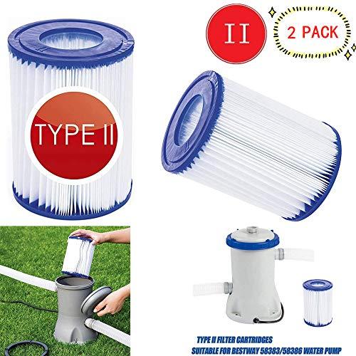 GAODA Filter Pool kartusche typ 2, für Bestway 58094 Filterkartuschen Gr.II, Durchmesser 10.6 cm, Höhe13.6 cm, Poolpumpen Filter Kartuschenfilter Filterpatrone. (2 Stück)