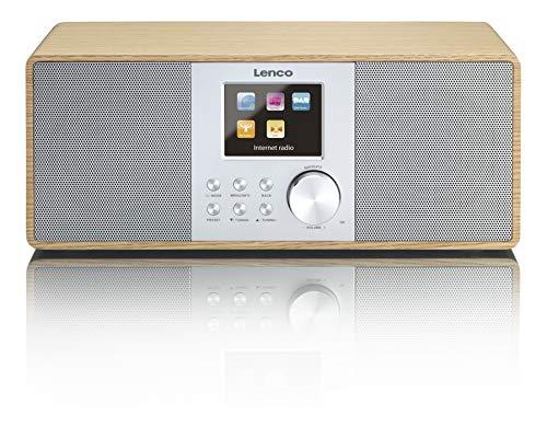 Lenco Internetradio Digitalradio DIR-200 WLAN mit DAB/DAB+ und UKW-Tuner, Radiowecker (7 cm TFT Farb-Display, 2 Weckzeiten, AUX-Eingang, Line-Ausgang, Fernbedienung), holz