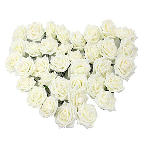 Pingenaneer 50 Stück Schaumrosen Schöne Kunstblume Hochzeit Deko künstlicher Blumen für Hochzeitsdeko und Tisch Dekoration Durchmesser: 8cm, Länge: 18cm Creme
