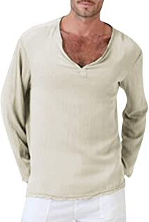 Wintialy Mens Summer T-Shirt Cotton Linen Thai Hippie Shirt V-Neck Beach Yoga Top Blouse