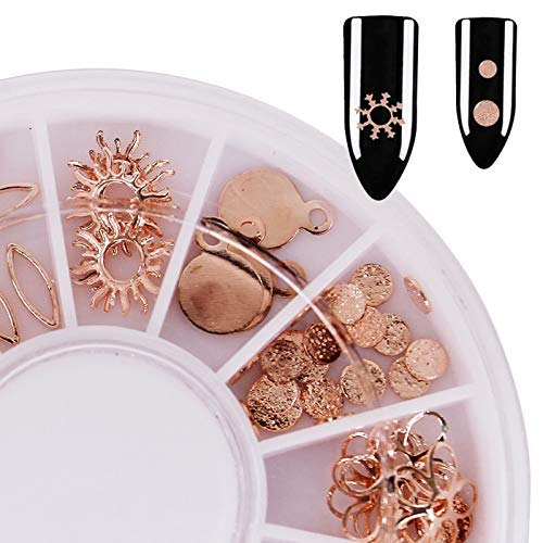 Artlalic 1pcs tranches d'or en métal rose Nail Art décorations Sun Design de feuilles de flocon de neige 3D conseils ongles manucure bricolage décoration des ongles