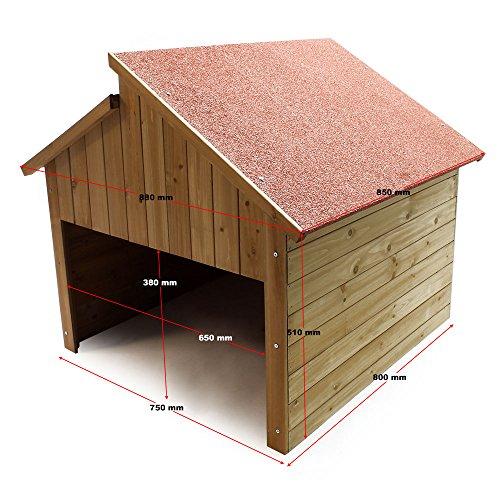 Wiltec Garage für Mährobotor aus Holz für alle gängigen Rasenroboter - 2