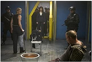Colonial President Laura Roslin and Kara 'Starbuck' Thrace Interrogating Leoben Conoy Cylon - Battlestar Galactica 8x10 Photograph - HQ - BSG