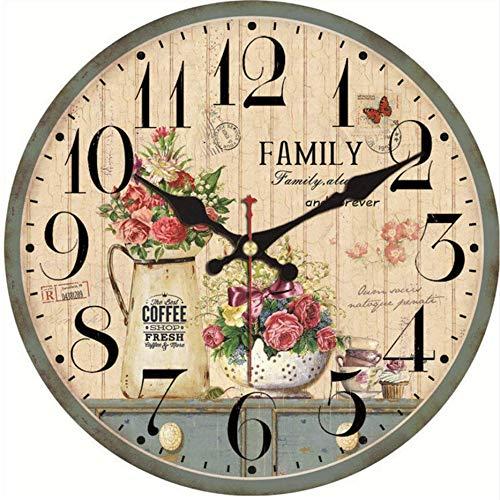 Djkaa Shabby-Chic plantenklokjes in bloempot, decoratie voor thuis in de keuken, stille horloges, accessoires voor kunst, vintage, grote 16 inch