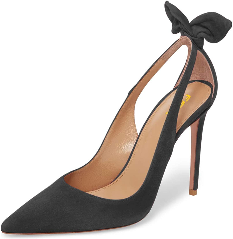 FSJ Women Cute Bowknot High Heels Pumps Pointed Toe Stilettos Dancing Party shoes Size 8.5 Black