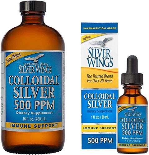 """Natural Path Silver Wings Supplements. Colloidal Silver 500 ppm """"Best Seller"""" (16 fl.oz / 480 ml) Immune Support + Colloidal Silver 500 ppm (1 fl.oz / 30 ml)"""