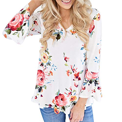 2021 Spring Fashion Summer Floral Bell Long Sleeve Tops White Oversized T-Shirt V Neck Flowy Plus Size Blouses for Womens by WOCACHI, Valentine's Day Girlfriend Gift Cheap Casual Tunics