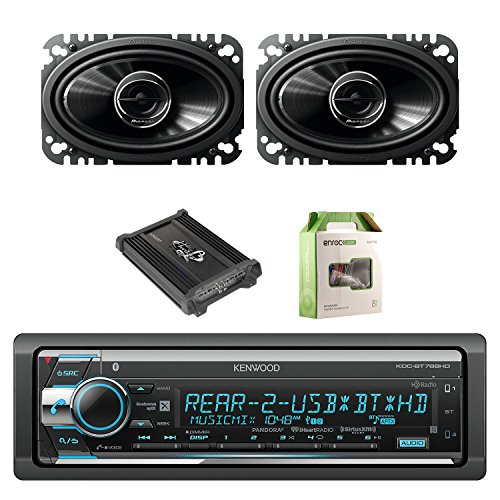 Kenwood Single Din CD/AM/FM Car Audio Receiver with Bluetooth with Pioneer 2-Way 4.6 Inch 200W Car Speakers 2-Pairs, Lanzar Heritage Mosfet Amplifier & Enrock Amplifier Wiring Installation Kit