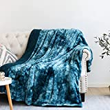 NEWCOSPLAY Super Soft Faux Fur Throw Blanket Premium Sherpa Backing Warm and Cozy Throw Decorative for Bedroom Sofa Floor (Thick-Dark Blue, Throw(50'x60'))