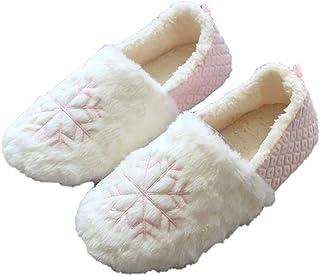 Monbedos Pantoufles pour Madame Motif flocon de neige de Noël Hiver,Pantoufles chaudes,Accueilpantoufles antidérapantes (R...