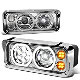 Chrome Full LED Halo DRL Amber Signal Projector Headlight Lamps Replacement for Western Star Freightliner Kenworth 81-19