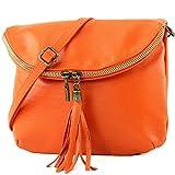 modamoda de - T07 - ital. Umhänge Clutch Klein Nappaleder, Farbe:Orange