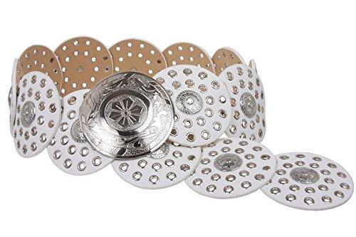 Cintura da donna in pelle di concho Boho Disc da 90 mm bianco XL/122 cm