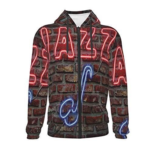 Inaayayi Sweatshirt mit Kapuze und Tasche, Neonfarben, Jazz-Saxophon auf Brick Wall für Teenager, Jungen und Mädchen, langärmelig, mit Reißverschluss, mit Tasche, 7–20 Jahre Gr. S, Schwarz