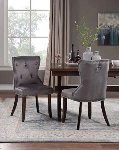 Best Harper&Bright Designs Set of 2 Victorian Dining Chair Upholstered Accent Chair with Upgraded Size 18
