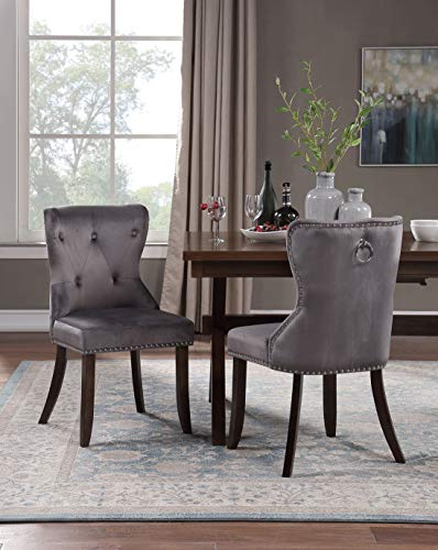 Harper&Bright Designs Set of 2 Victorian Dining Chair Upholstered Accent Chair (Velvet Grey)