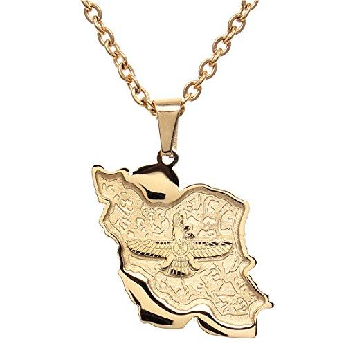 Halskette mit Anhänger, aus 18-Karat-Gold, mit iranischer/persischer Flagge/Karte, Farvahar/Pahlavi, gold, M