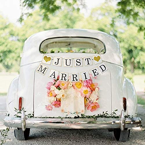 JUST MARRIED Banner Car Decorations, Gold Glitter Just Married Sign Garland for Bridal Shower Decorations, Photo Props and Car Decorations