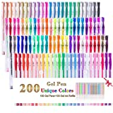 Set di 200 penne gel da 100 colori + 100 ricariche colorate, perfette per libri da colorar...