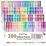 Juego de 200 bolígrafos de gel, 100 colores de gel y 100 recambios de color, perfectos para libros de colorear para adultos, marcadores de dibujo