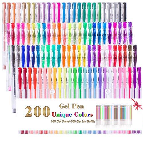 Set di 200 penne gel da 100 colori + 100 ricariche colorate, perfette per libri da colorare, scarabocchiare, disegnare, pennarelli artistici