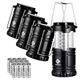 Etekcity 4 Pack LED Camping Lantern Portable Flashlight with 12 AA Batteries - Survival Kit for Emergency, Hurricane, Power Outage (Black, Collapsible) (CL10)