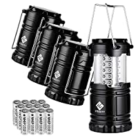 Etekcity 4 Pack Portable Outdoor LED Camping Lantern with 12 AA Batteries - Survival Kit for Emergency, Hurricane, Storm, Power Outage (Black, Collapsible) 18
