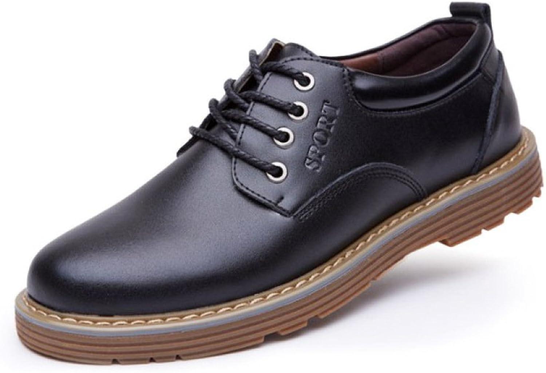 DHFUD Men's Fashion Big Scalp Leather shoes Casual Men's shoes Tooling shoes