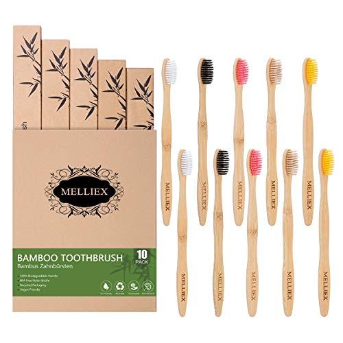 MELLIEX 10 Pack Bambus Zahnbürsten, Holzzahnbürste Zahnbürste Holz 100% BPA-freie Natürlich Vegan Biologisch Abbaubar Umweltfreundlich Bambuszahnbürste Set für Erwachsene Kinder