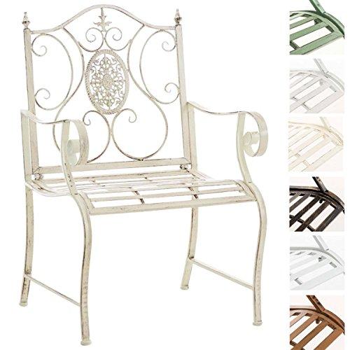 CLP Lackierter Eisen-Gartenstuhl Punjab mit Armlehne I Outdoor-Stuhl im Landhausstil I erhältlich Antik Creme