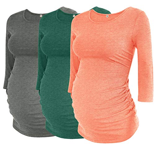 Product Image of the AMPOSH Women's Maternity Shirts 3 Pack Ruched 3/4 Sleeve Tops Basic Pregnancy...