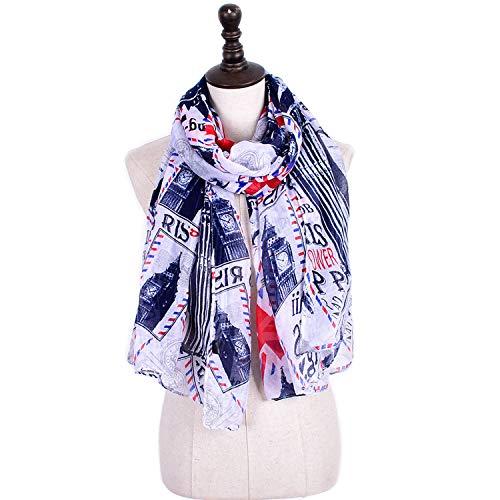 SGJFZD sjaal groot formaat Balinese garen ansichtkaart afdrukken vier seizoenen sjaal multifunctionele airconditioning maatregelen tegen zonnebrandcrème stofdicht voor dames 3 kleuren geselecteerd