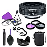 Canon EF-S 24mm f/2.8 STM Lens for Canon Digital SLR Cameras with 52mm Filter Kit (UV, CPL, FLD) (12 Items)