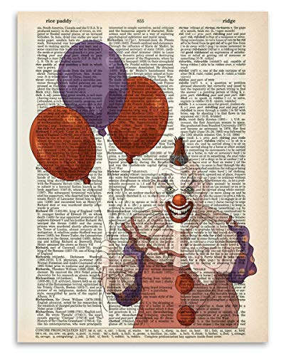 Upcycled Dictionary Art - Scary Clown - 8.5x11 Unframed Dictionary Art - Great Gift and Home Decor Under $15