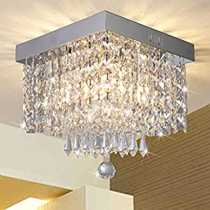 Modern Luxury Crystal Chandelier, Contemporary Raindrop Crystal Ball Square Chandelier Lighting Pendant Ceiling Lamp Flush Mount Ceiling Light Fixture Chandelier for Bedroom, Hallway of CRYSTOP