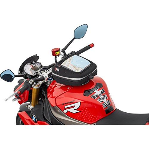 QBag Tankrucksack Motorrad Quick Lock Tanktasche Quick-Lock Tankrucksack 12 (ohne Oberring), formstabil, ergonomisch, Regenhaube, Schwarz, 5,5 – 7 Liter, passend für fast jede Tankform und jedes Tankmaterial