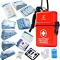 DEFTGET Waterproof First Aid Kit with Mini, Durable, Lightweight Construction, Bandages for Minor Injuries While Camping, Hiking and Outdoor Survival (Dark-red)