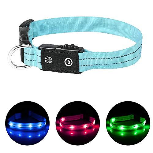 PcEoTllar LED Hundehalsband Leuchthalsband Wasserdicht Leuchten Hundehalsband USB Wiederaufladbare Blinkende Hundehalsbänder Einstellbar Super Bright für Nacht Dunkel - Blau - XS