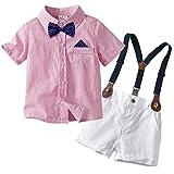 Edjude Traje de Caballero Bebé Niños 4 Piezas Conjuntos de Ropa Camisa Formales Partes de Arriba de Manga Corta Tirantes Pantalones Corbata de Moño Rosado 9-12 Meses